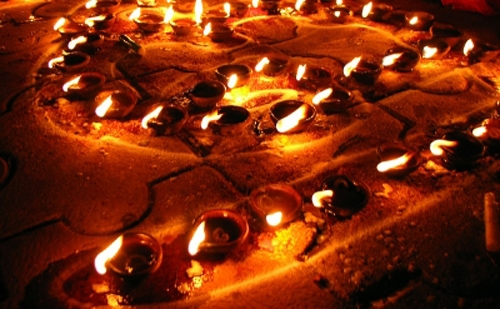 Candle lights at Diwali festival