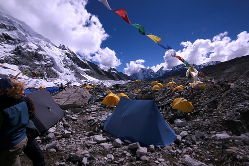 The Mt. Everest base camp is where climbers stock on supplies and gather energy before attempting to summit.